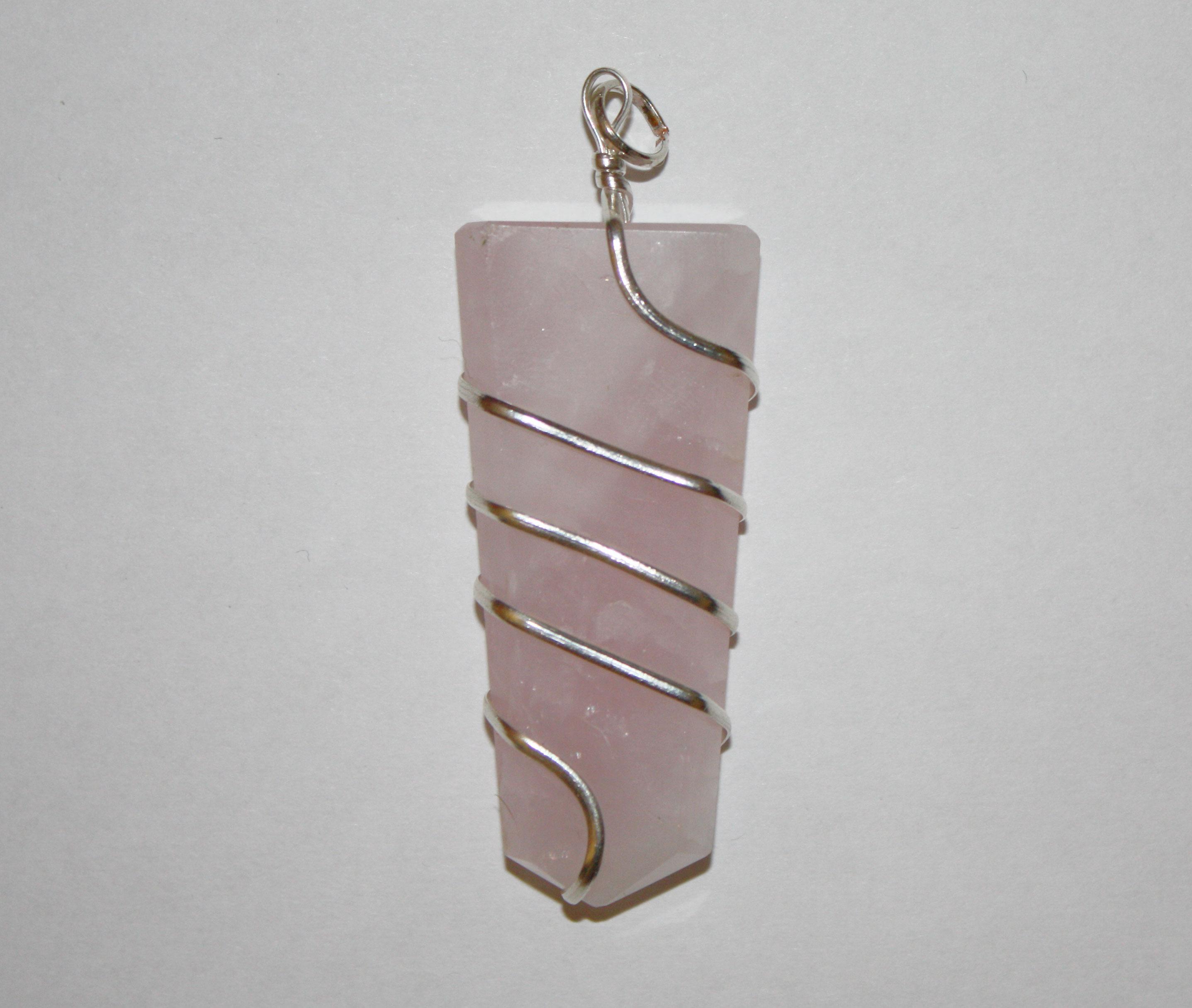 Flat Wrapped Rose Quartz Pendant | Yellow Brick Road provides Beads ...